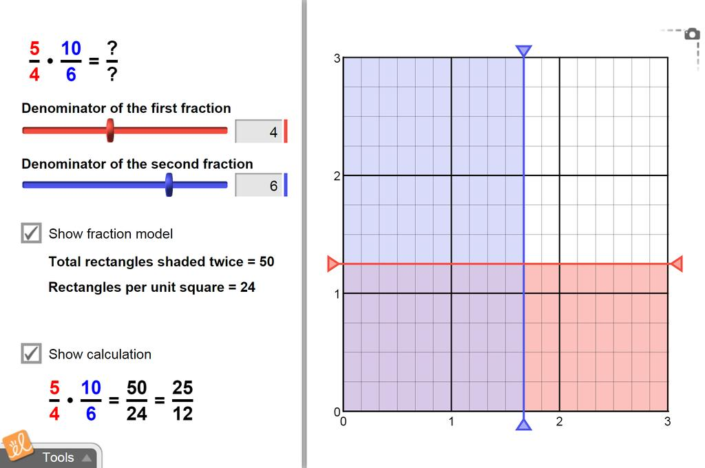 Screenshot of Multiplying Fractions Gizmo