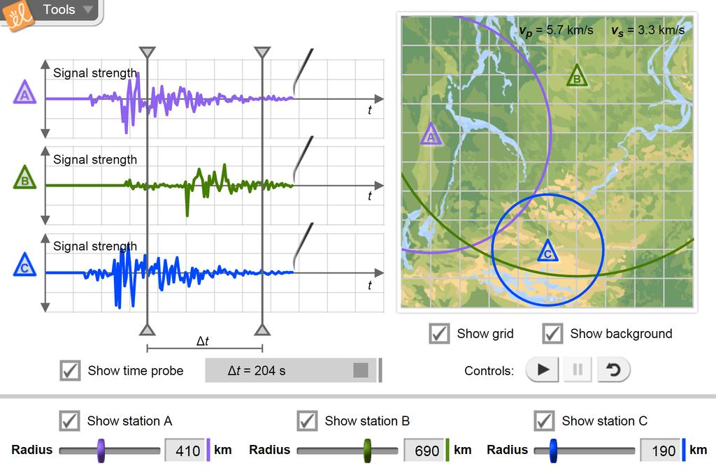 Screenshot of Earthquakes 2 - Determination of Epicenter Gizmo