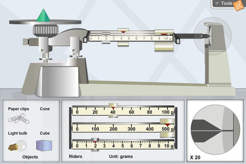 Screenshot of Triple Beam Balance Gizmo