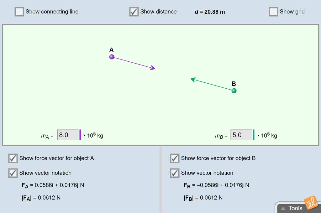 Screenshot of Gravitational Force Gizmo
