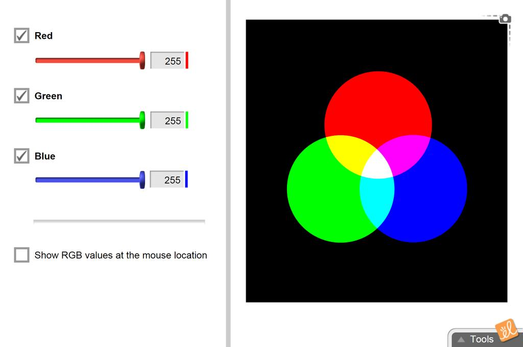 Screenshot of Additive Colors Gizmo