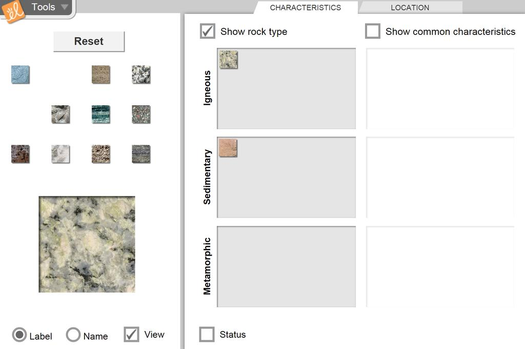 Screenshot of Rock Classification Gizmo
