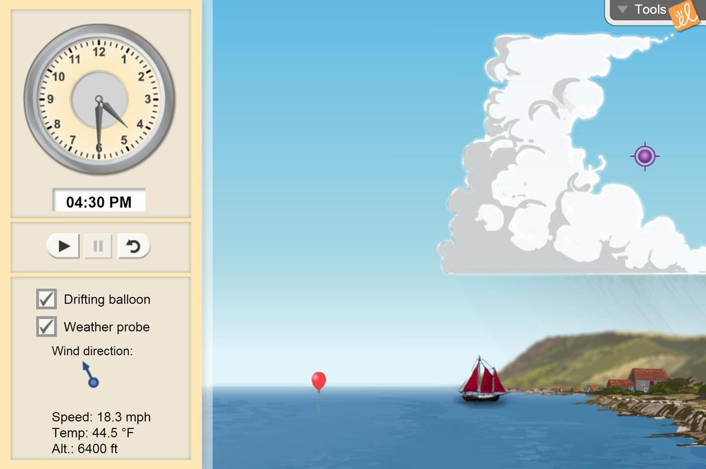 Screenshot of Coastal Winds and Clouds Gizmo