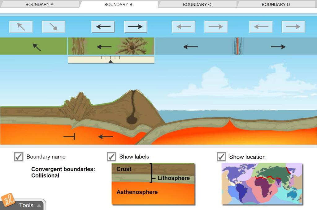 Screenshot of Plate Tectonics Gizmo