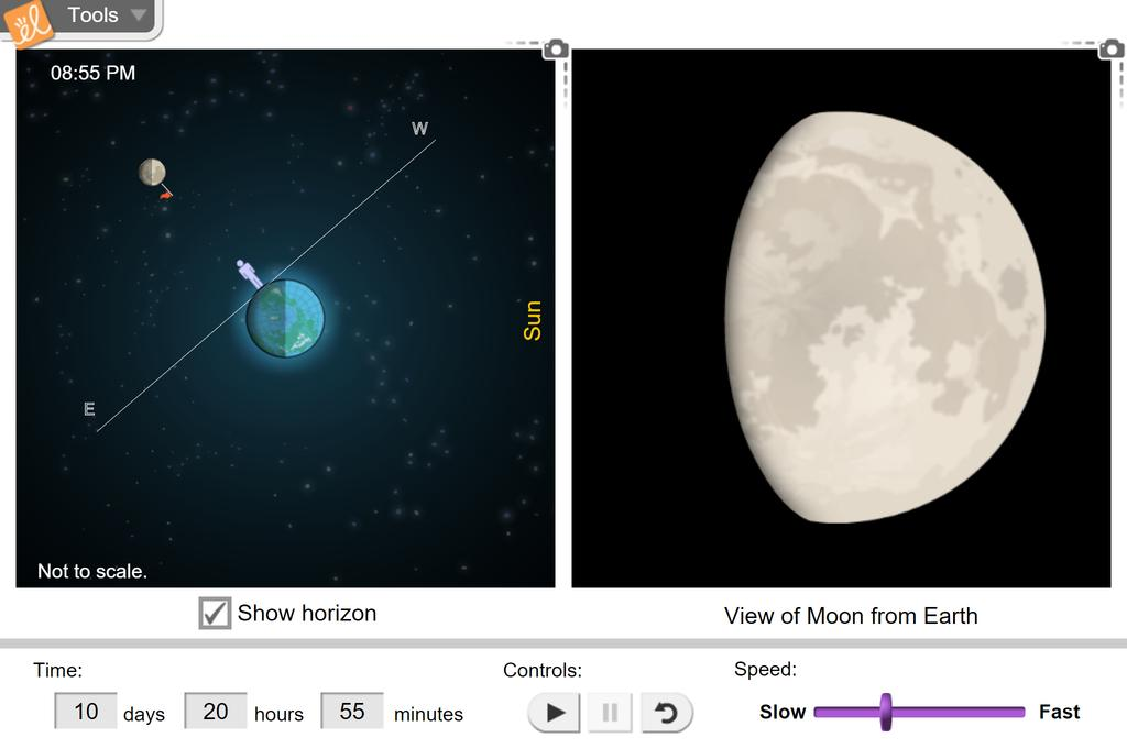 Screenshot of Moonrise, Moonset, and Phases Gizmo