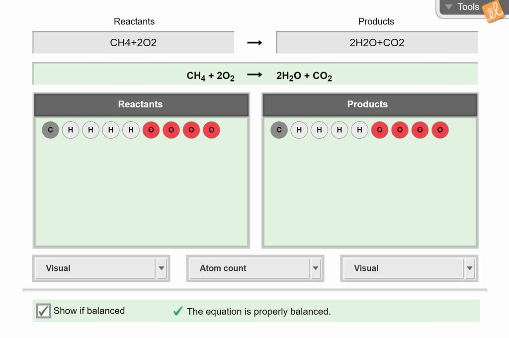 Screenshot of Chemical Equations Gizmo