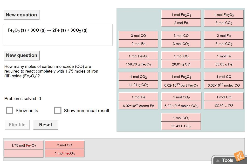 Screenshot of Stoichiometry Gizmo