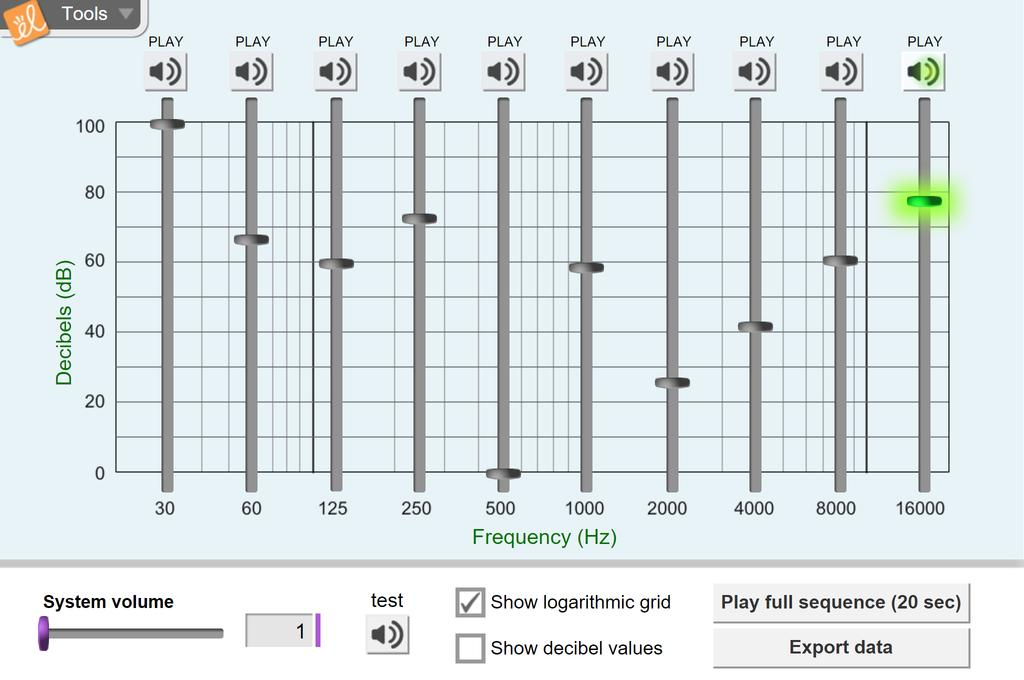 Screenshot of Hearing: Frequency and Volume Gizmo