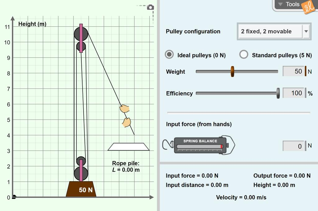 Screenshot of Pulley Lab Gizmo