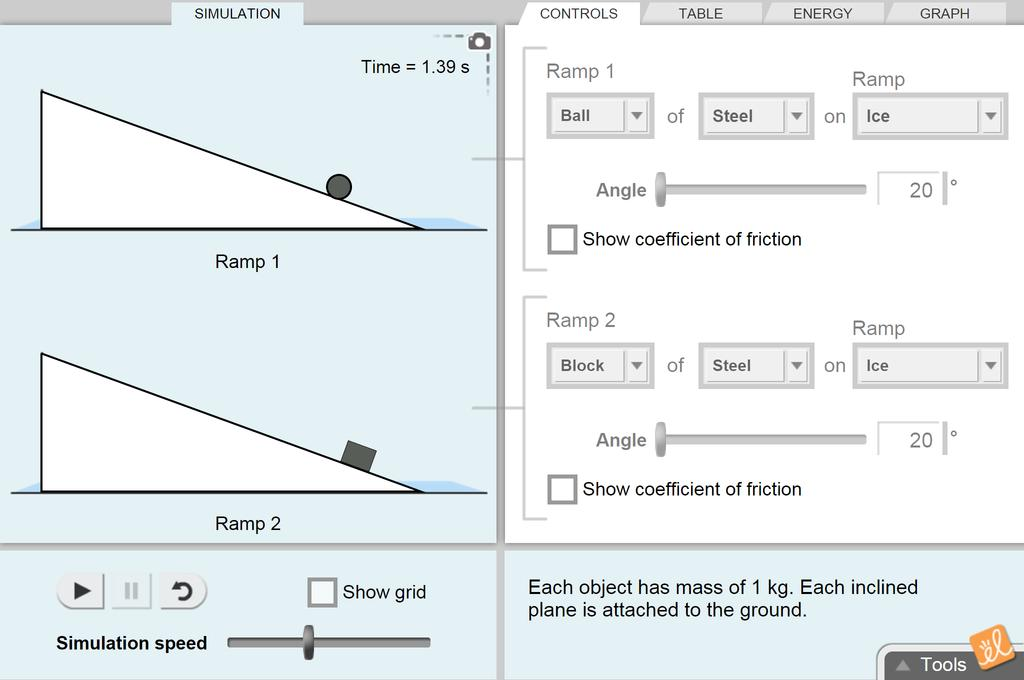 Screenshot of Inclined Plane - Rolling Objects Gizmo