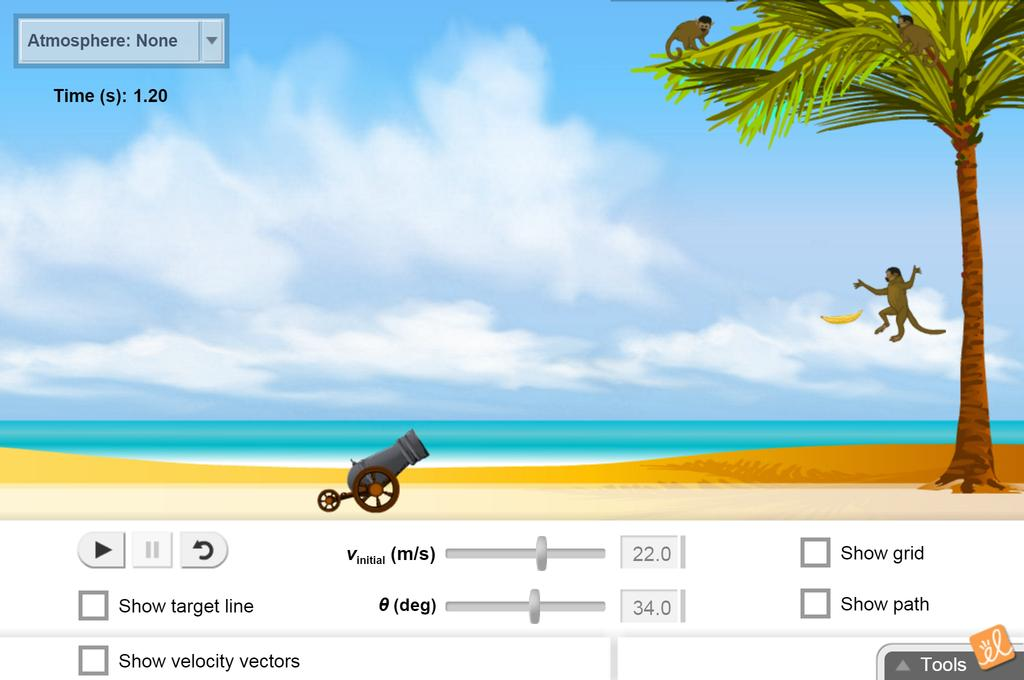 Screenshot of Shoot the Monkey Gizmo