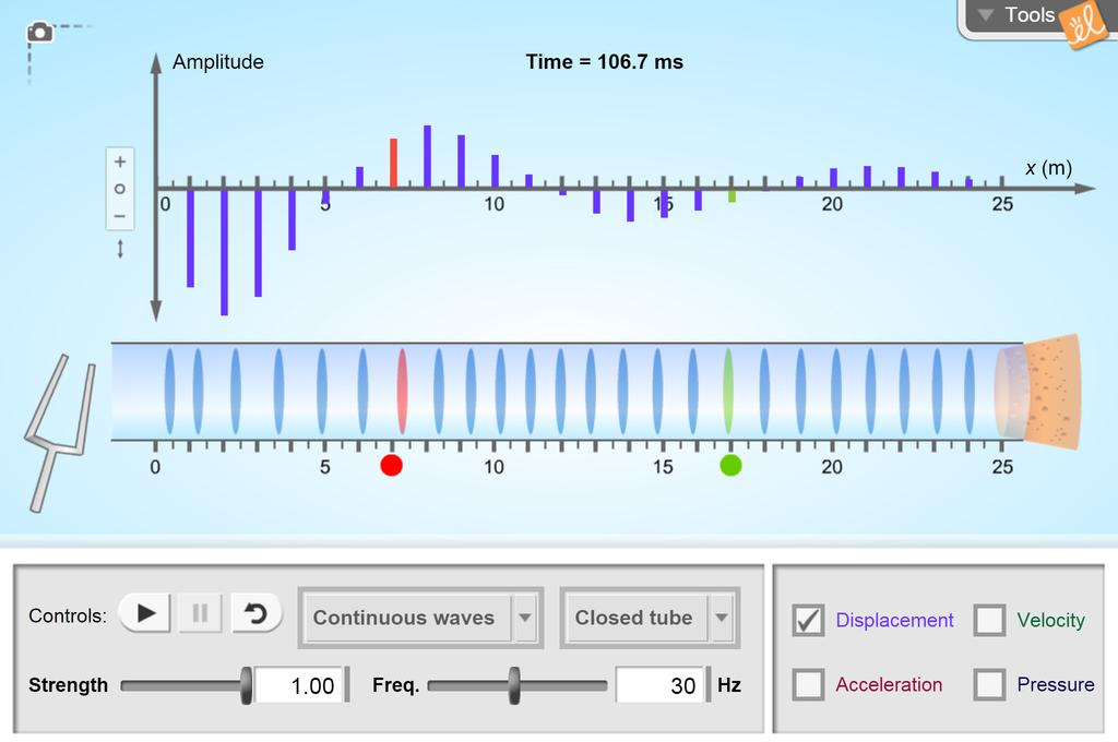 Screenshot of Longitudinal Waves Gizmo