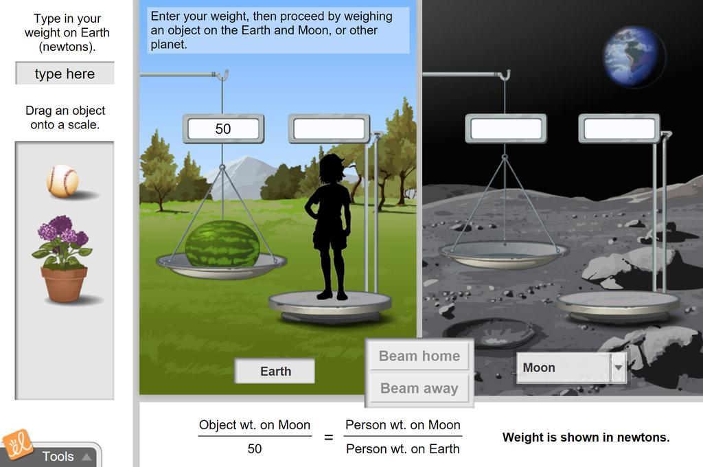 Screenshot of Beam to Moon (Ratios and Proportions) - Metric Gizmo