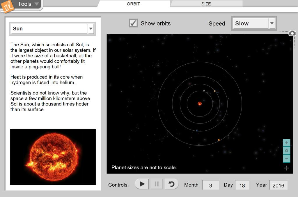 Screenshot of Solar System Gizmo