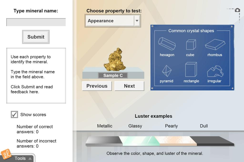Screenshot of Mineral Identification Gizmo