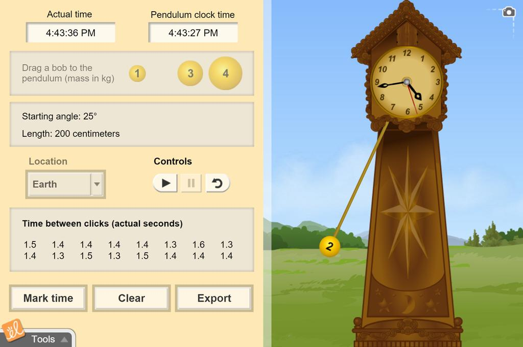 Screenshot of Pendulum Clock Gizmo