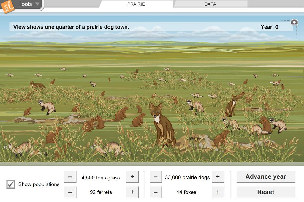 Screenshot of Prairie Ecosystem Gizmo