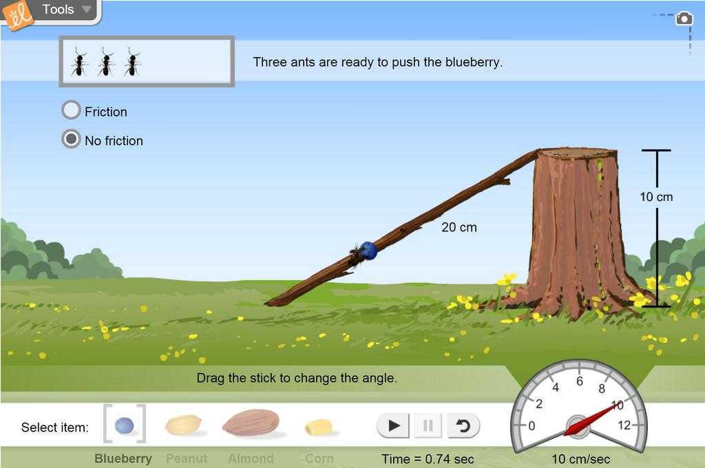 Screenshot of Ants on a Slant (Inclined Plane) Gizmo
