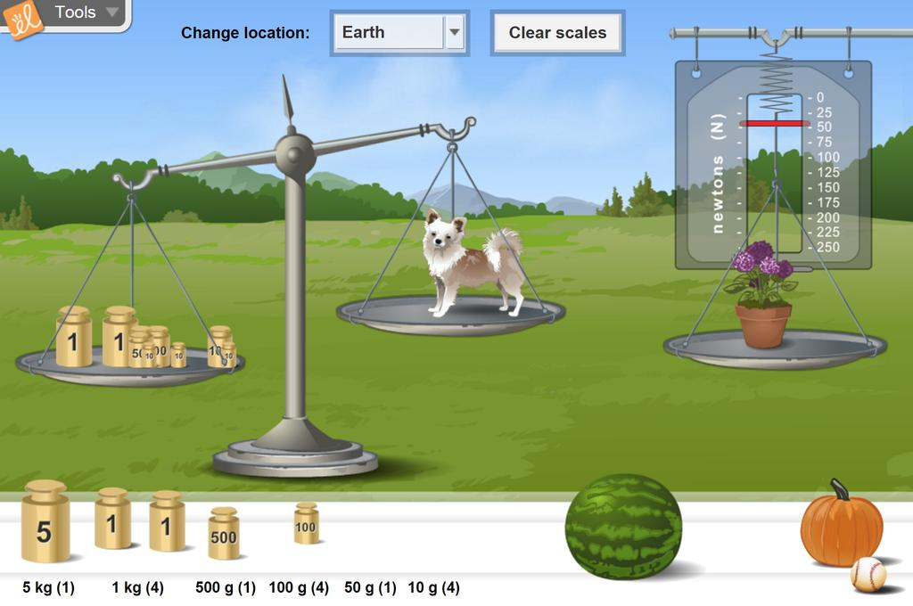 Screenshot of Weight and Mass Gizmo