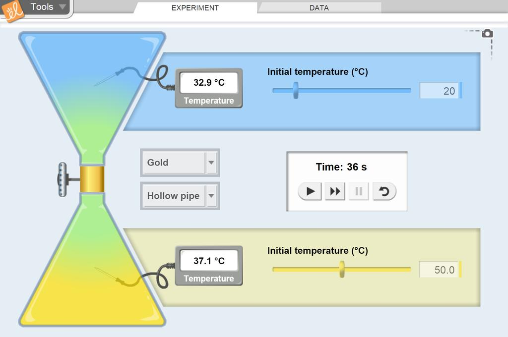 Screenshot of Conduction and Convection Gizmo
