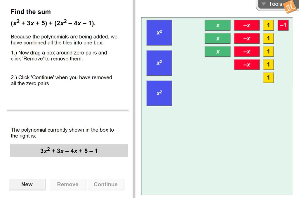 Screenshot of Addition of Polynomials Gizmo