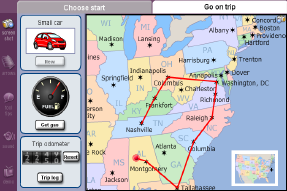 Screenshot of the Road Trip Gizmo